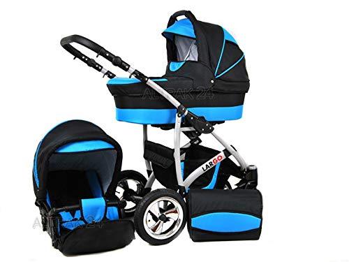 +++ SALE Raff Largo System Kinderwagen Babywagen Buggy, Autositz Kinderwagen System 3 in1 + Wickeltasche + Regenschutz +Insektenschutz (Set 3w1: Wanne + Sportsitz + Babyschale, ocean blue-black)