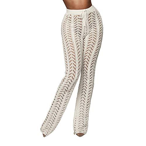 MOTOCO Damen High Waist Hosen Sexy Hollow Perspective Mesh Damen Nightclub Knit Wide Leg Pants(S,Weiß)