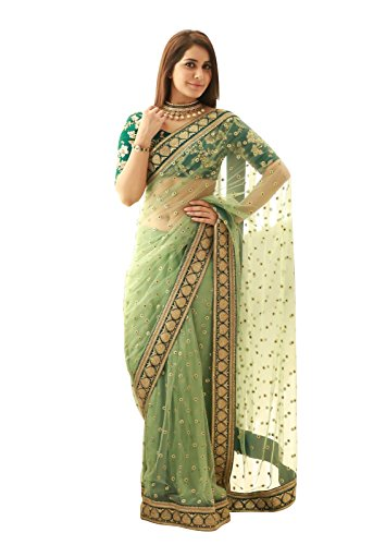 Skyblue Fashion Net Saree (Veddeal_15391_Green)