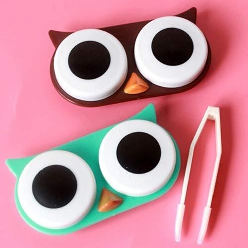 Steellwingsf Cartoon Eule Kontaktlinsenbehälter Cute Travel Storage Einweichen Kit Halter Container Box, Plastik, Multi, Einheitsgröße -