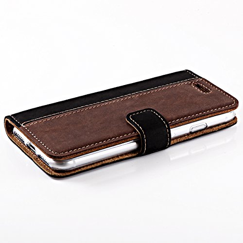 Apple iPhone 6 / 6s Premium Zwei Farben Ledertasche Schutzhülle Wallet Case aus Nubukleder mit Kreditkarten / Notizen Fachern und Veloursleder - ( Schwarz-Nussbraun ) von Surazo® Two Tone Kollektion f Schwarz-Nussbraun