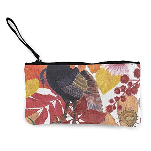 TTmom Damen Leinwand Geldbörse Portemonnaie Geldbeutel,Wild Turkey Pattern Wallet Coin Purse Canvas Zipper Cosmetic for Daily Use