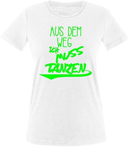 ezyshirt Aus dem Weg ich muss Tanzen Damen Rundhals T-Shirt Weiss/Neongruen