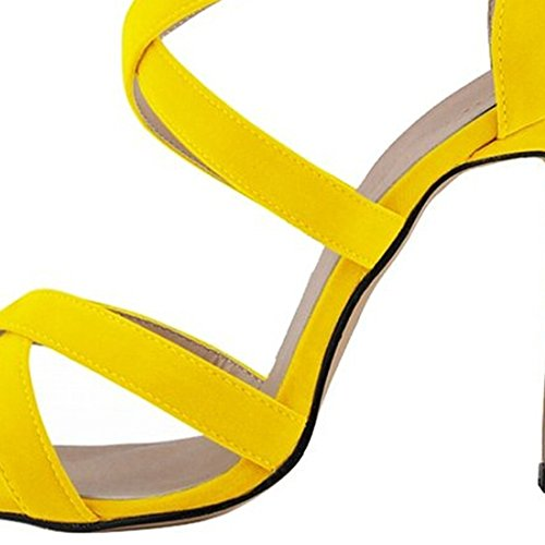 Azbro Elegant Summer Ankle Strappy Stiletto High Heels For Woman Yellow