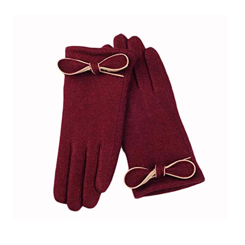 HQQ Handschuhe Frauen Wilde koreanische Version des einfachen Touch Screen Cute Warm Thick Outdoor (Farbe : Liquor) - Kabel Stricken Cashmere