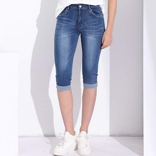Skinny Capris Jeans Damen Damen Stretch Knielänge Denim Shorts Jeans Hosen Damen mit hoher Taille Sommer(XL) -
