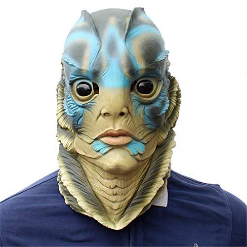 (Die Form des Wassers Künstliche Meerjungfrau Haube Maske Halloween Dekoration Kostüm Maske Cosplay Volle Kopf Maske Látex)