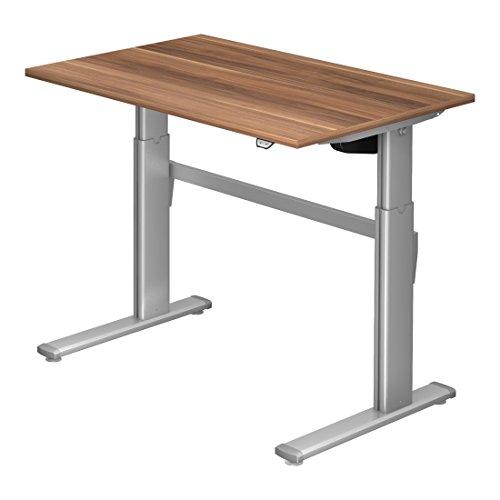 Höhenverstellbarer Schreibtisch DR-Office XM - 120 x 80 cm - 7 Farbenvarianten - elektrisch höhenverstellbar bis maximal 119 cm - Stahlgestell silbergrau, Farbe:Zwetschge