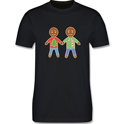 Weihnachten & Silvester - Lebkuchenmann und -mann - Herren Premium T-Shirt Schwarz