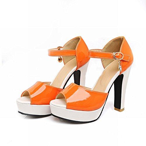 MissSaSa Donna Sandali col Tacco Alto Estate Colore Arancione