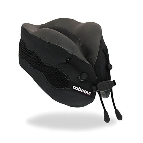 Cabeau Evolution Cool Travel Pillow- The Best Air Circulating Head and Neck Memory Foam Cooling Travel Pillow - Black