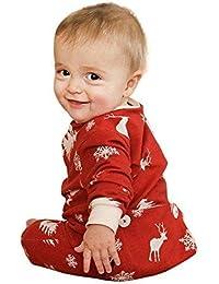 Ephex Bébé Fille Garçon Noël Combinaisons et Barboteuses Pyjama Coton à Manches Longues Pantalon Avec Bouton Imprimer Elaphurus Davidianus CerfNeige