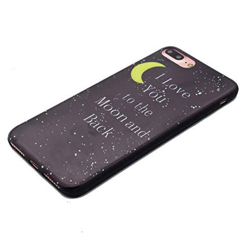 Coque Housse Etui pour iPhone 7 Plus/8 Plus, iPhone 8 Plus Coque en Silicone Cerfs flocon de neige de Noël Motif Etui, iPhone 7 Plus Silicone Coque Housse Transparent Etui Gel Slim Case Soft Gel Cover Lune