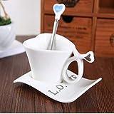 22222Tazza Creativo Amore A Forma di Cuore Tazza di caffè con Piatto Cucchiaio Tazza di caffè Vestito per Gli Amanti della Tazza da tè Stile Inglese Set Regalo D