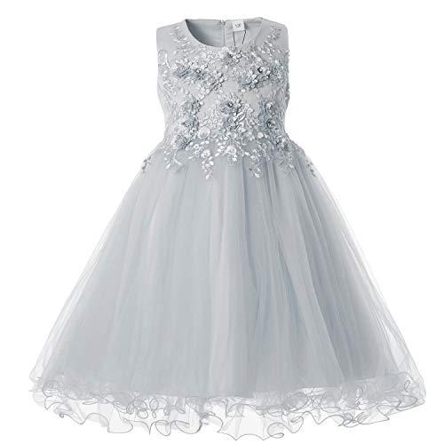 CIELARKO Mädchen Kleid Prinzessin àrmellos Blumen Hochzeits Festzug Kleid Blumenmädchen Kleider, Grau, 2-3 Jahre 3 Kleid