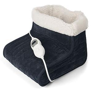 Julava Fußwärmer mit 3 Temperaturstufen in dunkelgrau   Wärmeschuh mit Überhitzungsschutz und Abschaltautomatik   Füße aufwärmen   elektrischer Fußwärmer ist waschbar bei 30°C