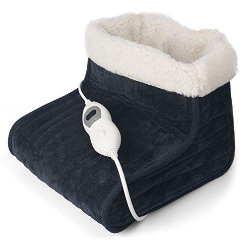 Julava Fußwärmer mit 3 Temperaturstufen in dunkelgrau | Wärmeschuh mit Überhitzungsschutz und Abschaltautomatik | Füße aufwärmen | elektrischer Fußwärmer ist waschbar bei 30°C