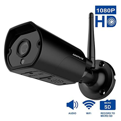 Cámara IP de Exterior Anpviz cámara de Seguridad inalámbrica 1080P, Audio bidireccional, excelente visión Nocturna de hasta 20 Metros, Cámara Bala WiFi de 2 MP, Alarma de detección de Movimiento