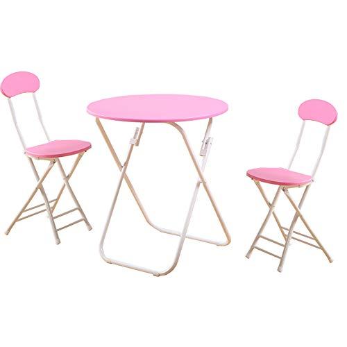 YXX Bois Rond Pliant Cuisine Table À Manger Ensemble Chaise De 3 Jardin Rose Café Et Thé Et Bureau D'ordinateur, (1 Table + 2 Chaises) (Taille : 60x60x71cm)