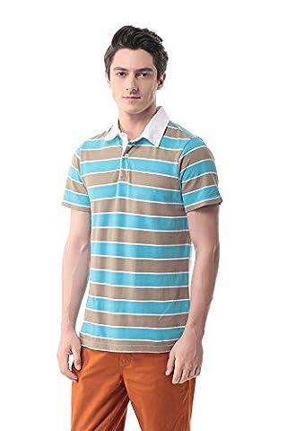 Pau1Hami1ton T-07 Men's 100%Cotton Solid Casual Stripe Short-Sleeve Polo
