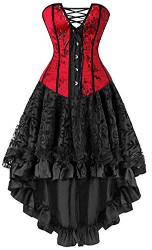 Gothic Moulin Rouge Corsagenkleid Corsage Dessous Lang Chiffon Rock Übergrößen (EUR(46-48)5XL, Rot) (Halloween Kostüme Mit Korsett)