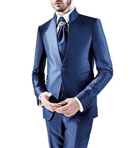 Suit Me adattata degli uomini 3-Piece Suit collare del basamento Per giacca matrimoni partito, gilet, pantaloni Blu