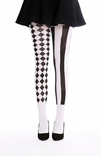 Dress me up - wz-009 collant pantyhose costume donna party carnevale halloween rombi neri e bianchi righe arlecchino s/m