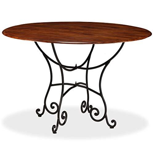 Festnight Esstisch Esszimmertisch Massives Akazienholz mit Sheesham-Finish Holz Küchentisch mit Stahlbeine 120 x 76 cm