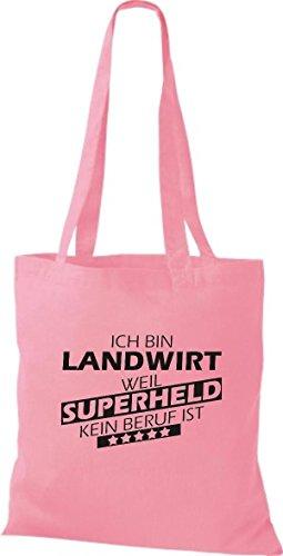 Shirtstown Stoffbeutel Ich bin Landwirt, weil Superheld kein Beruf ist rosa