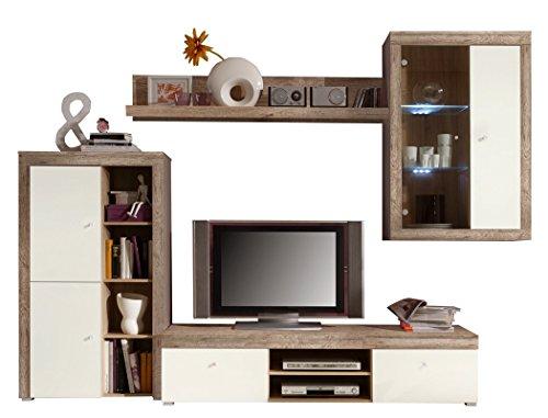 Wohnwand Lamount A 289x202x50cm Eiche Magnolie Schrankwand Wohnzimmerschrank Vitrine Wandschrank Wandboard TV-Board LED-Beleuchtung - 4