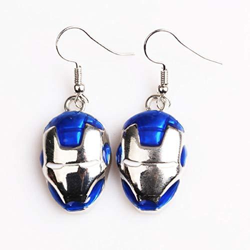 Onlyfo Iron Man Maske Ohrringe mit Schmuckbox, Glasur für Damen, Mädchen (blau) -
