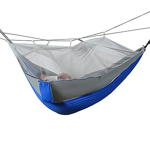 Double hamac avec moustiquaire, léger, portable Parachute Hamac pour le camping voyage randonnée Plage Yard Gear avec sangles en nylon et acier mousquetons, bleu/gris