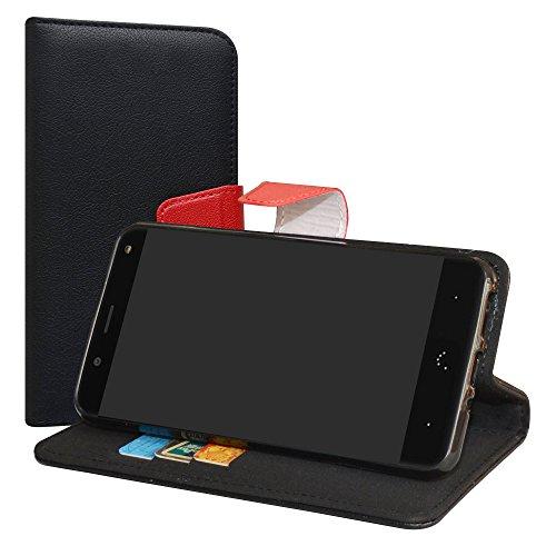 LiuShan BQ Aquaris VS/Aquaris V Hülle, Brieftasche Handyhülle Schutzhülle PU Leder mit Kartenfächer & Standfunktion für BQ Aquaris VS/Aquaris V (5,2 Zoll) Smartphone,Schwarz