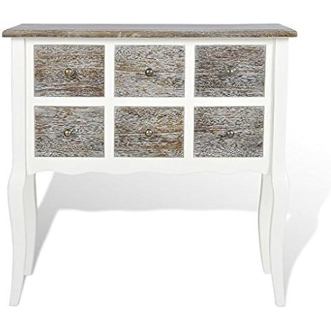 Gabinete de Consola 6 cajones blanco madera