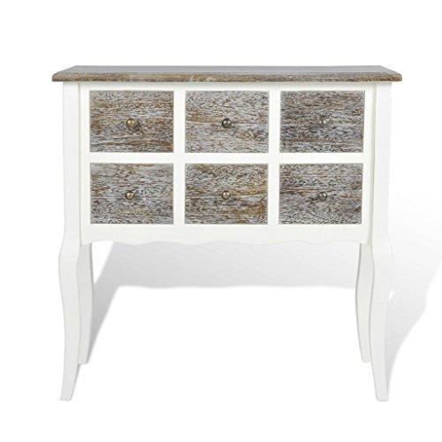 Möbel Konsole Schränke (vidaXL Konsole Konsolentisch Beistelltisch Schrank Holz Weiß inkl. 6 Schubladen)