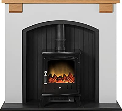 Adam Vermont Stove Suite in Cream with Aviemore Electric Stove in Black, 48 Inch