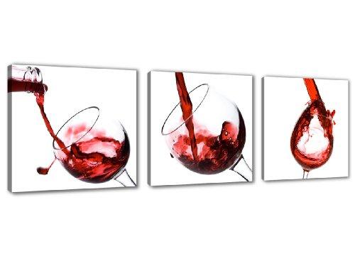 Visario 4219imágenes y sintética Impresiones sobre lienzo (150x 50cm, Vino Cocina Tres piezas