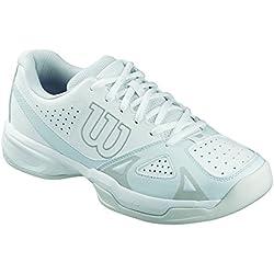 Wilson Zapatillas de tenis para mujer, Ideales para jugadoras de todos los niveles, Para todo tipo tipo de terreno de juego, RUSH OPEN 2.0 W, Tejido/Sintético, Blanco (White/Ice Gray Wil/Steel Grey), Talla: 39
