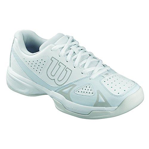 Wilson Scarpe da tennis da donna, Ideali per giocatrici di tutti i livelli, Per ogni terreno di gioco, RUSH OPEN 2.0 W, Tessuto/Sintetico, Bianco (White/Ice Gray Wil/Steel Grey), Misura: 37