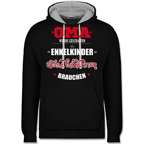 Oma - Oma wurde geschaffen - Kontrast Hoodie Schwarz/Grau Meliert