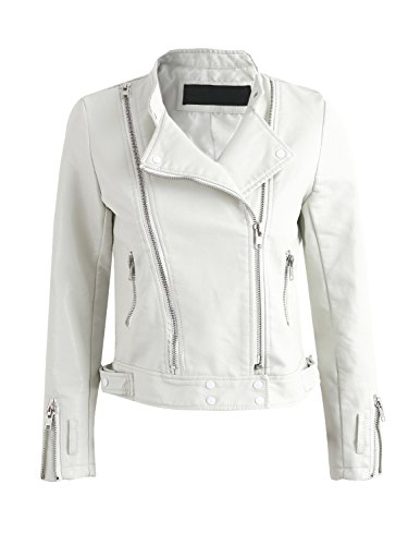 Simplee Apparel Damen Jacke Herbst Winter Cusual PU Leather Zipper Jacke Bikerjacke Weiß