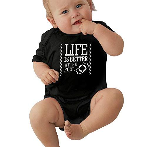 Queen Elena Baby Body mit Aufschrift Life is Better at The Pool, Einteiler aus Reiner Baumwolle Gr. 6 Monate, - Creeper Girl Kostüm