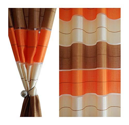 Tenda a occhiello semitrasparente sciarpa a occhiello sciarpa sciarpa decorativa per finestra tenda decorativi a colori strisce balcone di 2 tende con occhielli 145x245 cm agv v1