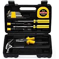Juego de herramientas manuales de reparación general de 13 piezas con caja de herramientas Caja de almacenamiento ideal para reparaciones y mantenimiento del hogar