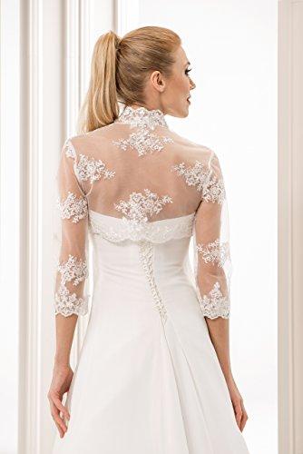 Dentelle pour femme jeune mariee bolero veste manche longueur 3/4, decore avec des perles, paillettes et fil dargent Blanc