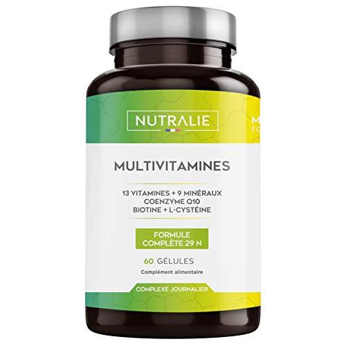 NUTRALIE | Multivitamines 29 Nutriments Essentiels | Vitamines A, B, C, D, E, K, Biotine, L-Cystéine, Coenzime Q10 et 9 Minéraux | Complexe Multivitamines 60 Gélules