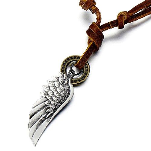 COOLSTEELANDBEYOND Estilo Retro, Alas de ángel, Collar con Colgante de Hombre Mujer, con Cordón de Cuero Ajustable