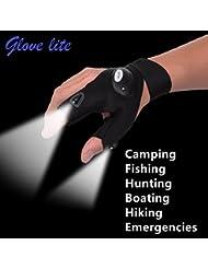 Gants sans doigts avec lampe torche LED