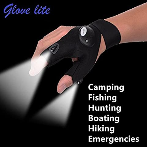 Sin dedos guantes con linterna LED
