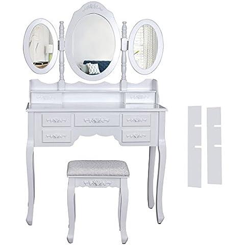 Songmics Tocador con cajones, espejo y taburete mesa de maquillaje blanco RDT91W